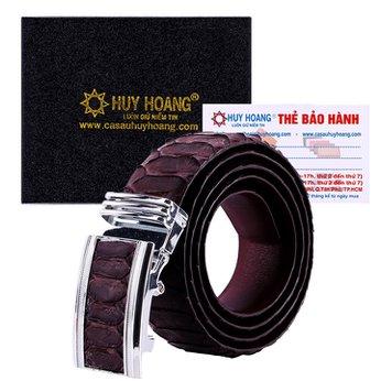 HG4342 - Dây nịt nam da trăn Huy Hoàng vip bản lớn màu nâu