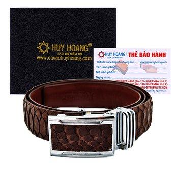 HG4343 - Dây nịt nam da trăn Huy Hoàng vip màu nâu
