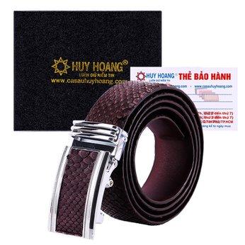 HG4344 - Dây nịt nam da trăn Huy Hoàng bản lớn màu nâu
