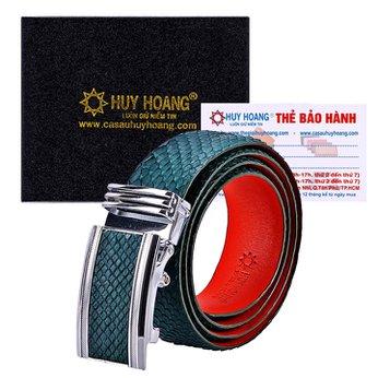 HG4347 - Dây nịt nam da trăn Huy Hoàng màu xanh rêu