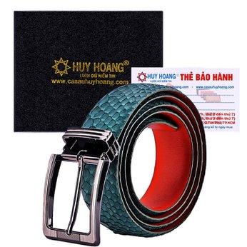 HG4348 - Dây nịt nam da trăn Huy Hoàng đầu kim màu xanh rêu