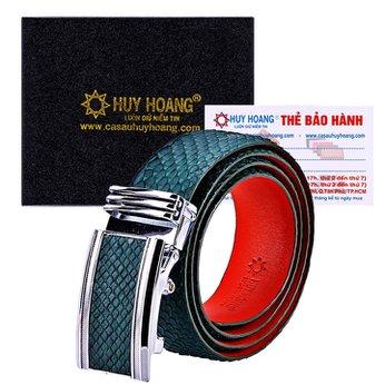HG4349 - Dây nịt nam da trăn Huy Hoàng bản lớn màu xanh rêu