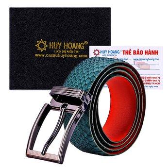 HG4350 - Dây nịt nam da trăn Huy Hoàng bản lớn đầu kim màu xanh rêu