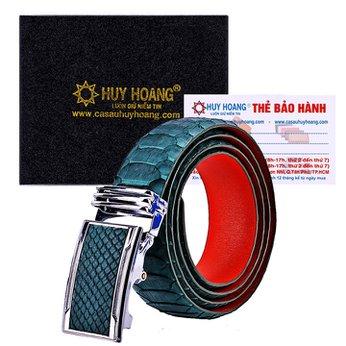 HG4351 - Dây nịt nam da trăn Huy Hoàng vip màu xanh rêu