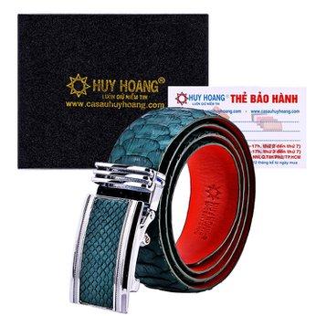 HG4353 - Dây nịt nam da trăn Huy Hoàng vip bản lớn màu xanh rêu