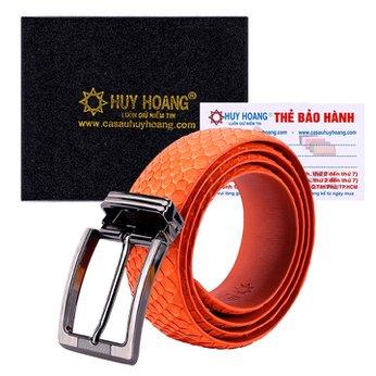 HG4356 - Dây nịt nam da trăn Huy Hoàng đầu kim màu cam