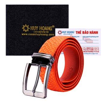 HG4358 - Dây nịt nam da trăn Huy Hoàng bản lớn đầu kim màu cam