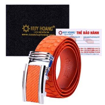 HG4359 - Dây nịt nam da trăn Huy Hoàng vip màu xanh cam