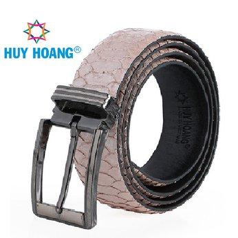 HG4368 - Dây nịt nam da trăn Huy Hoàng vip đầu kim màu hồng phấn