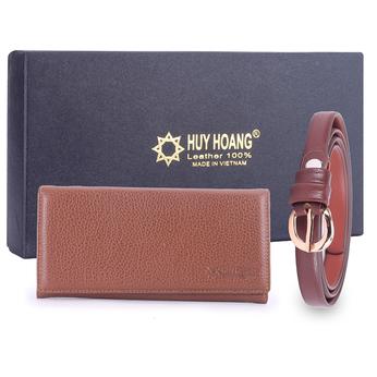 HG5109-HG3119 - Bộ Thắt lưng & Ví nữ Huy Hoàng da bò màu da