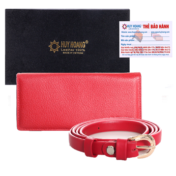 HG5111-HG3121-Bộ Thắt lưng & Ví nữ Huy Hoàng da bò màu đỏ