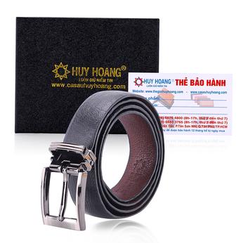 HG5411 - Thắt lưng nữ da đà điểu Huy Hoàng trơn màu đen