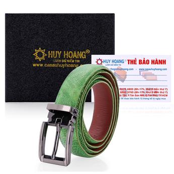 HG5414 - Thắt lưng nữ da đà điểu Huy Hoàng màu xanh lá