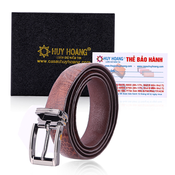HG5415 - Thắt lưng nữ da đà điểu Huy Hoàng trơn màu nâu đỏ