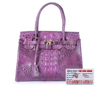 HG6223 - Túi xách nữ da cá sấu Huy Hoàng cao cấp màu tím