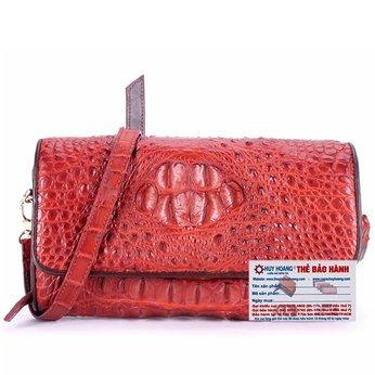 HG6256 - Túi đeo nữ da cá sấu Huy Hoàng màu nâu đỏ