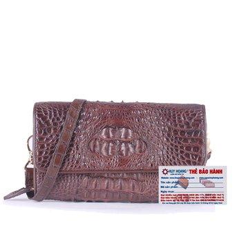 HG6258 - Túi đeo nữ da cá sấu Huy Hoàng màu nâu đất