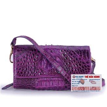 HG6261 - Túi đeo nữ da cá sấu Huy Hoàng màu tím