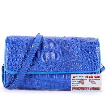 HG6263 - Túi đeo nữ da cá sấu Huy Hoàng màu xanh dương