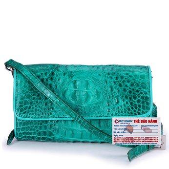HG6264 - Túi đeo nữ da cá sấu Huy Hoàng màu xanh lá
