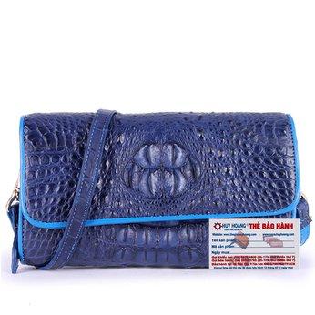 HG6265 - Túi đeo nữ da cá sấu Huy Hoàng màu xanh đậm