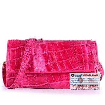 HG6271 - Túi đeo nữ da cá sấu Huy Hoàng 2 gai màu hồng
