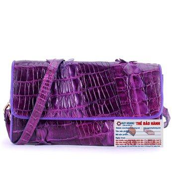 HG6272 - Túi đeo nữ da cá sấu Huy Hoàng 2 gai màu tím