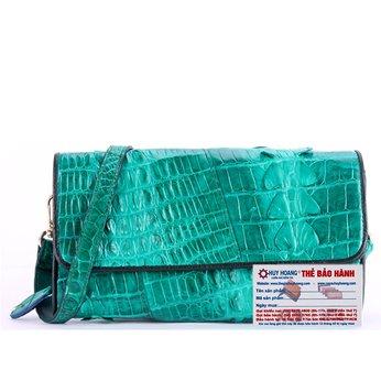 HG6275 - Túi đeo nữ da cá sấu Huy Hoàng 2 gai màu xanh lá