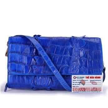 HG6277 - Túi đeo nữ da cá sấu Huy Hoàng 2 gai màu xanh dương
