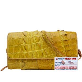 HG6279 - Túi xách nữ da cá sấu Huy Hoàng đeo chéo 2 gai màu vàng nghệ