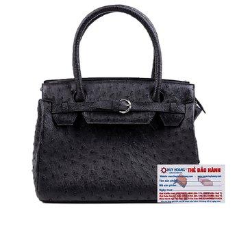 HG6401 - Túi xách Huy Hoàng da đà điểu màu đen