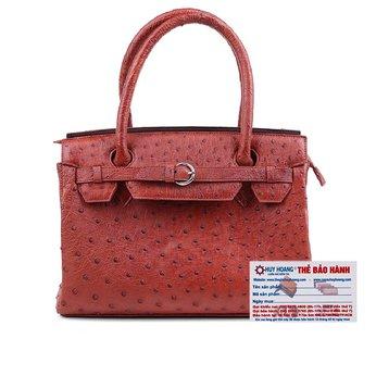 HG6402 - Túi xách Huy Hoàng da đà điểu màu nâu đỏ