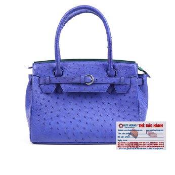 HG6405 - Túi xách Huy Hoàng da đà điểu màu xanh dương