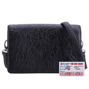 HG6407 - Túi đeo chéo da đà điểu Huy Hoàng cỡ nhỏ màu đen