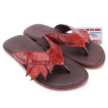 HG7214 - Dép quai kẹp Huy Hoàng da chân cá sấu màu nâu đỏ