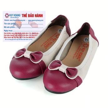 Giày trẻ em nữ Huy Hoàng da bò màu trắng phối đỏ đô HG7865