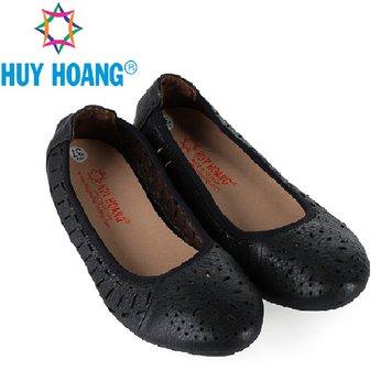 HG7951 - Giày nữ hoa văn Huy Hoàng da bò màu đen