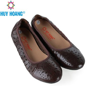 HG7952 - Giày nữ hoa văn Huy Hoàng da bò màu nâu đất