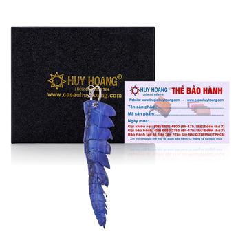 HG8241 - Móc khóa da cá sấu Huy Hoàng gai đuôi màu xanh dương