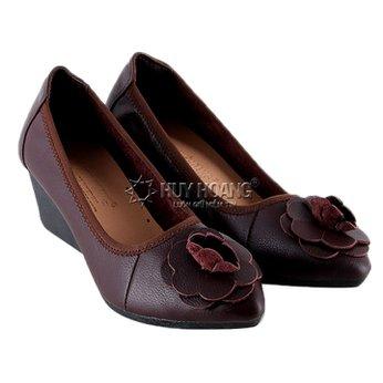 HG7943 - Giày nữ da bò 5 phân màu nâu đất