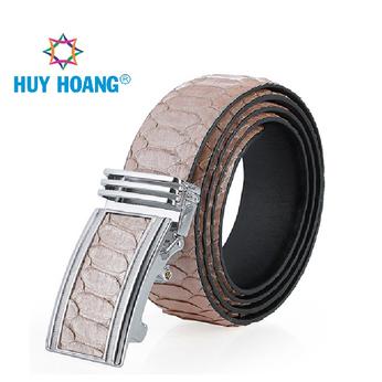 HG4369 - Dây nịt nam da trăn Huy Hoàng vip bản lớn màu hồng phấn