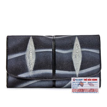 Bóp da cá đuối 2 sọc màu trắng đen HG3502
