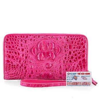 Bóp da cá sấu 1 khóa nguyên con màu hồng HG3719