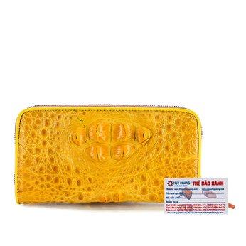 Bóp da cá sấu 1 khóa nguyên con màu vàng nghệ HG3716