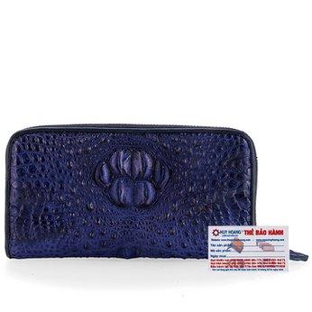Bóp da cá sấu 1 khóa nguyên con màu xanh đậm HG3717