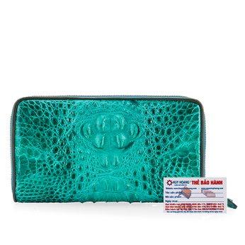Bóp da cá sấu nhiều ngăn nguyên con màu xanh lá HG3724