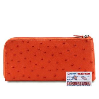 Bóp da đà điểu 1 khóa màu cam HG3421