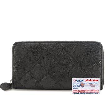 Bóp da đà điểu 1 khóa màu đen HG3423