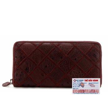 Bóp da đà điểu 1 khóa màu đỏ đô HG3424