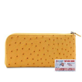 Bóp da đà điểu 1 khóa màu vàng HG3422